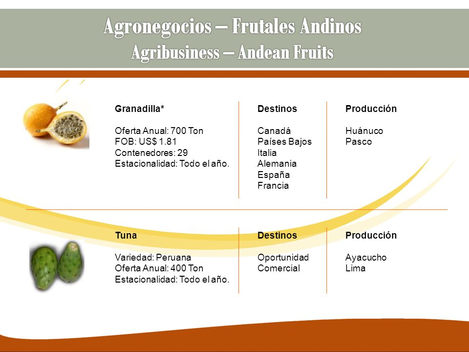 Agronegocios – Frutales Andinos Agribusiness – Andean Fruits