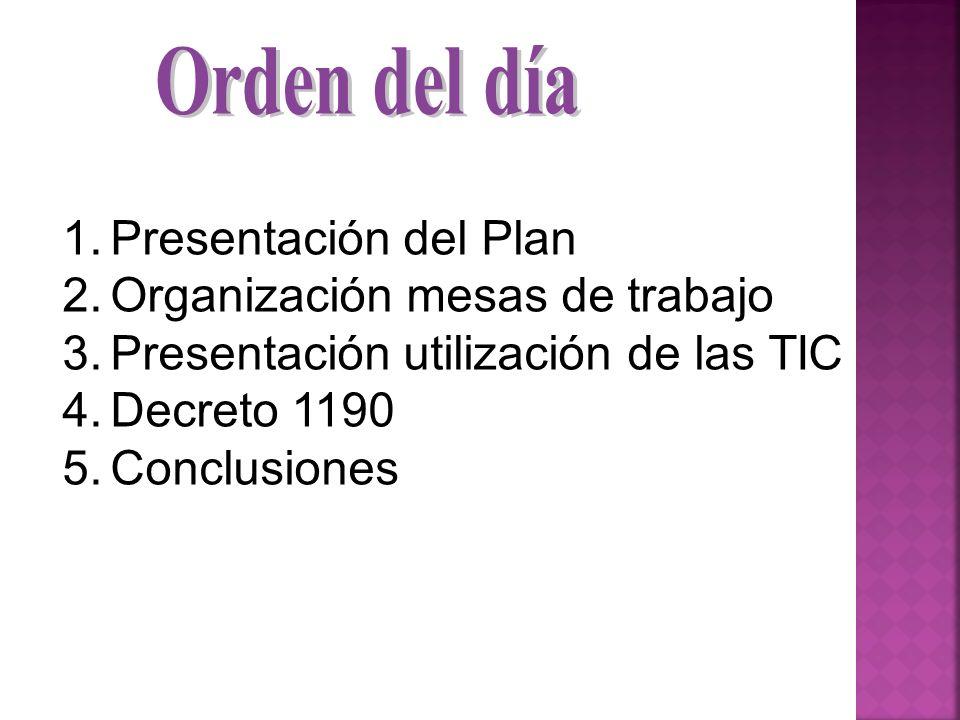 Orden del día Presentación del Plan. Organización mesas de trabajo. Presentación utilización de las TIC.