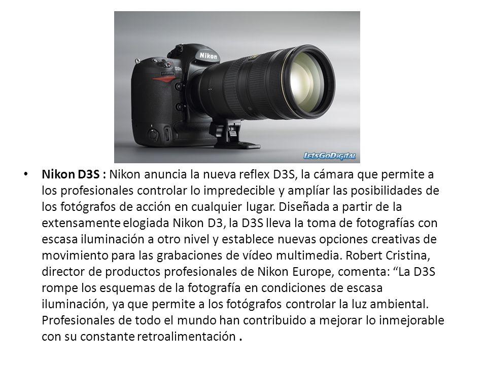 Nikon D3S : Nikon anuncia la nueva reflex D3S, la cámara que permite a los profesionales controlar lo impredecible y amplíar las posibilidades de los fotógrafos de acción en cualquier lugar.