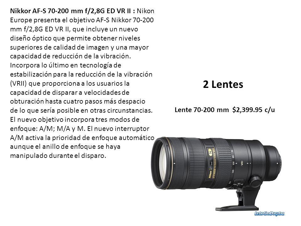Nikkor AF-S 70-200 mm f/2,8G ED VR II : Nikon Europe presenta el objetivo AF-S Nikkor 70-200 mm f/2,8G ED VR II, que incluye un nuevo diseño óptico que permite obtener niveles superiores de calidad de imagen y una mayor capacidad de reducción de la vibración. Incorpora lo último en tecnología de estabilización para la reducción de la vibración (VRII) que proporciona a los usuarios la capacidad de disparar a velocidades de obturación hasta cuatro pasos más despacio de lo que sería posible en otras circunstancias. El nuevo objetivo incorpora tres modos de enfoque: A/M; M/A y M. El nuevo interruptor A/M activa la prioridad de enfoque automático aunque el anillo de enfoque se haya manipulado durante el disparo.