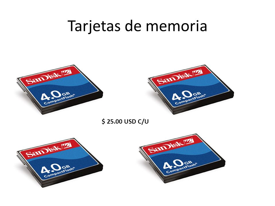 Tarjetas de memoria $ 25.00 USD C/U