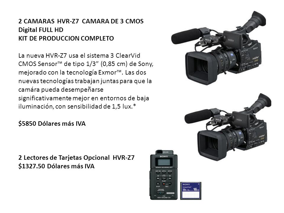 2 CAMARAS HVR-Z7 CAMARA DE 3 CMOS Digital FULL HD KIT DE PRODUCCION COMPLETO