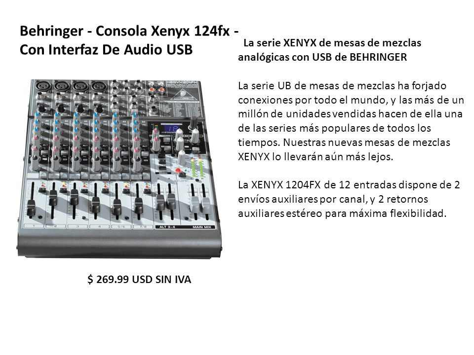 Behringer - Consola Xenyx 124fx - Con Interfaz De Audio USB