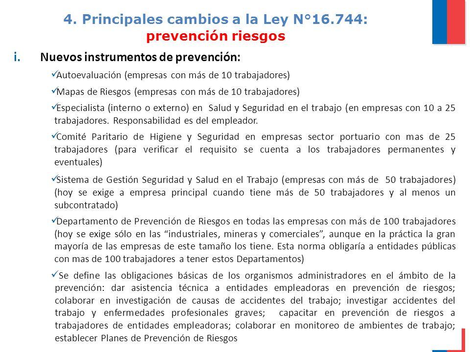 4. Principales cambios a la Ley N°16.744: prevención riesgos