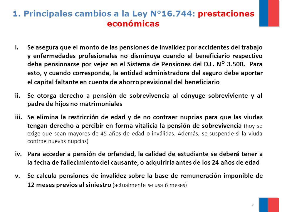 1. Principales cambios a la Ley N°16.744: prestaciones económicas