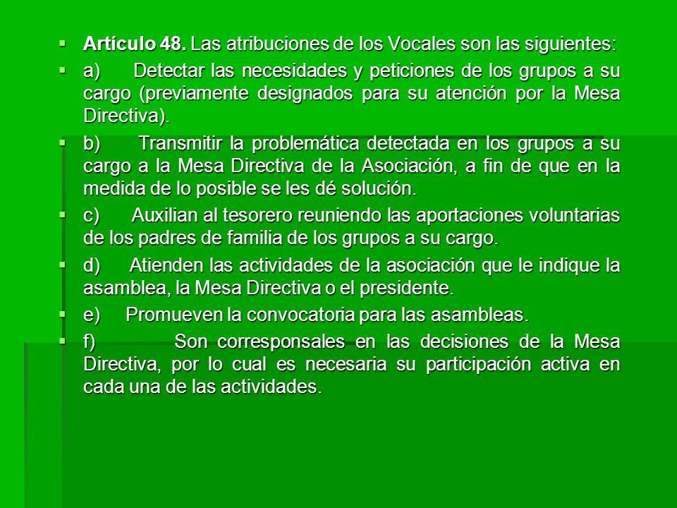 Artículo 48. Las atribuciones de los Vocales son las siguientes:
