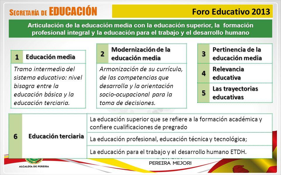 Foro Educativo 2013 Secretaría de EDUCACIÓN 2 3 4 5 1 6