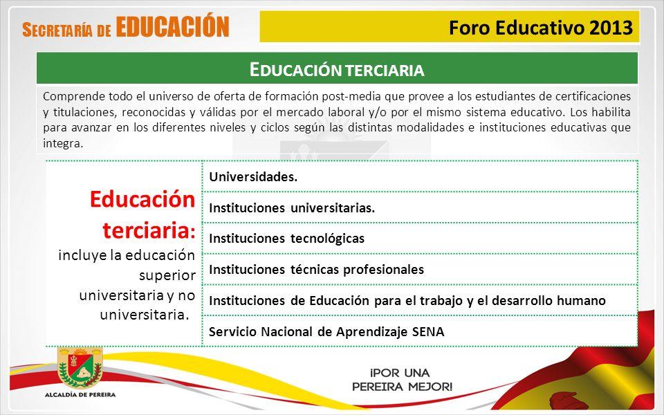 Educación terciaria: Foro Educativo 2013 Educación terciaria