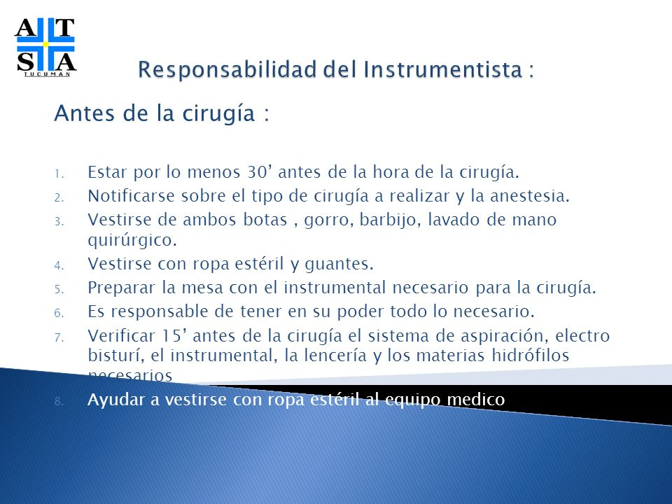 Responsabilidad del Instrumentista :