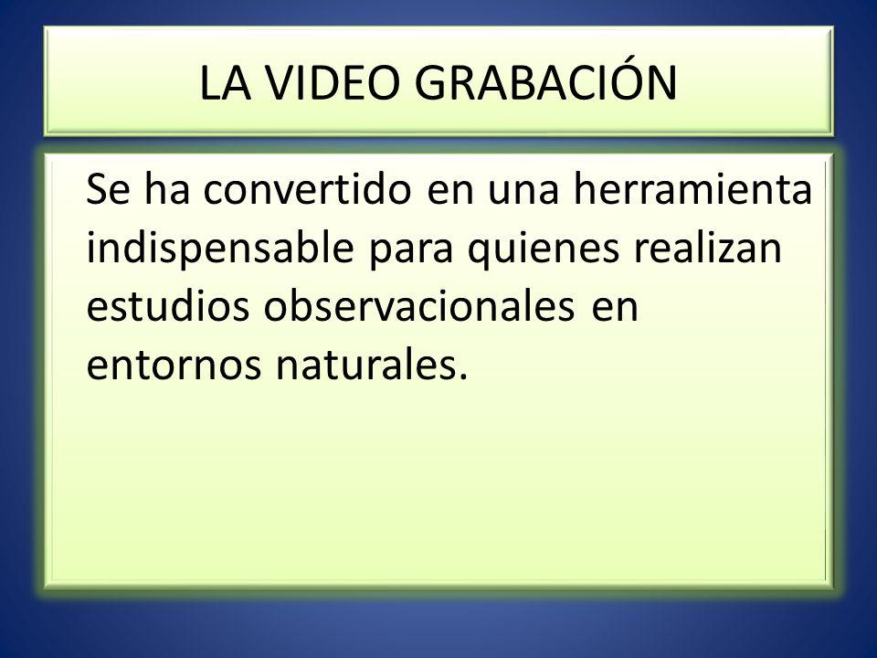 LA VIDEO GRABACIÓN Se ha convertido en una herramienta indispensable para quienes realizan estudios observacionales en entornos naturales.