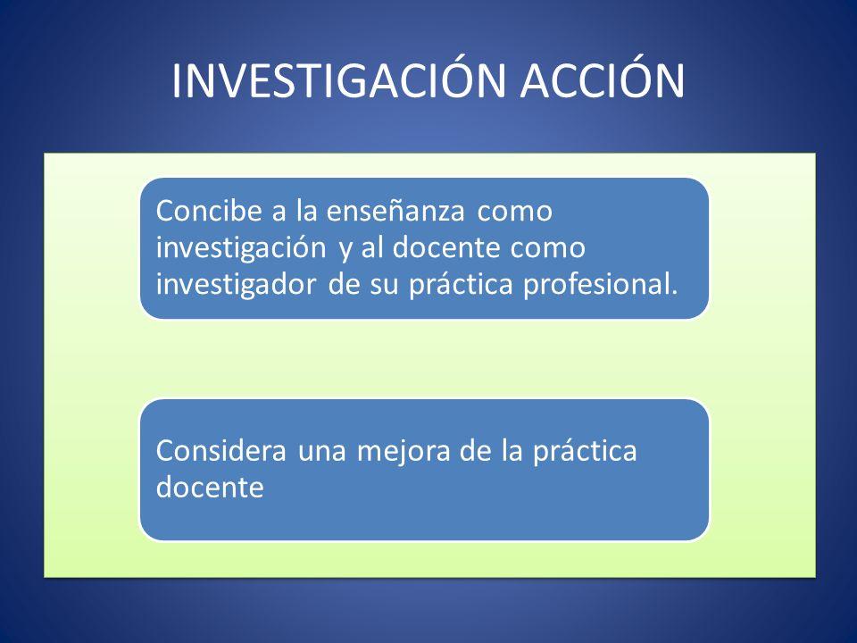 INVESTIGACIÓN ACCIÓN Concibe a la enseñanza como investigación y al docente como investigador de su práctica profesional.