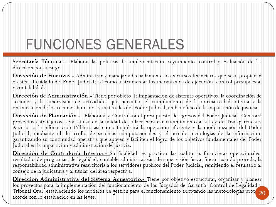 FUNCIONES GENERALESSecretaría Técnica.- Elaborar las políticas de implementación, seguimiento, control y evaluación de las direcciones a su cargo.