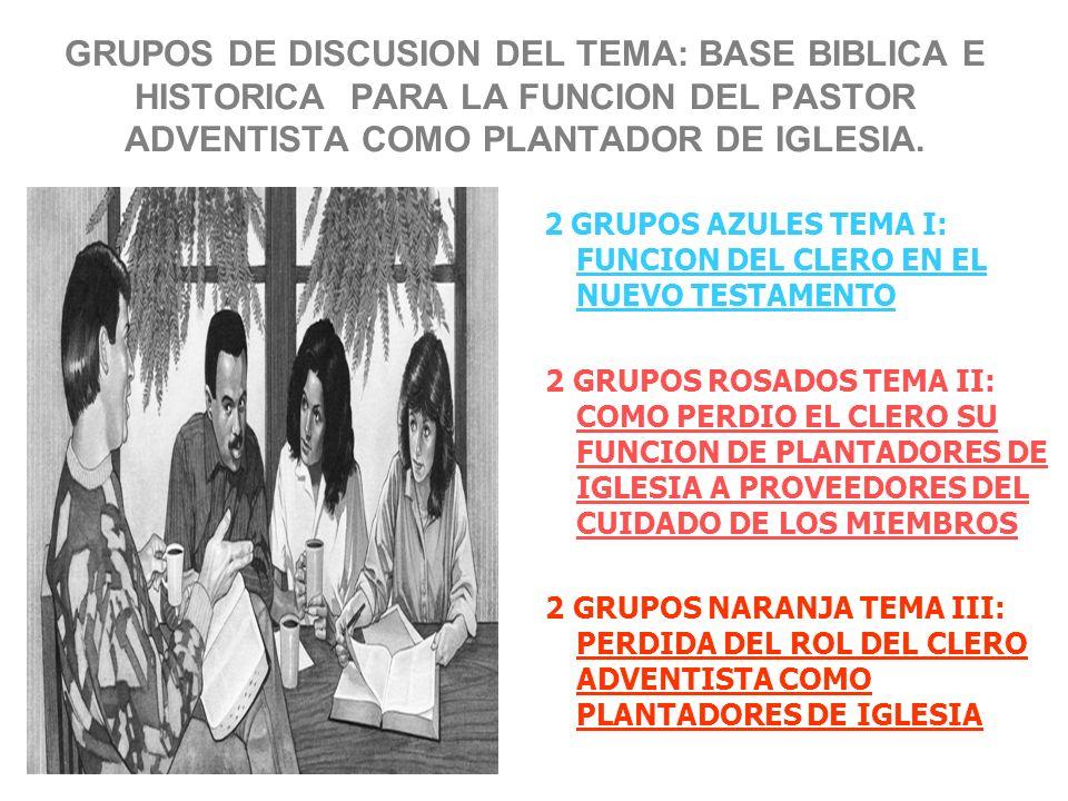 GRUPOS DE DISCUSION DEL TEMA: BASE BIBLICA E HISTORICA PARA LA FUNCION DEL PASTOR ADVENTISTA COMO PLANTADOR DE IGLESIA.