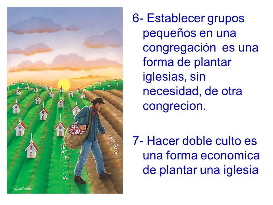 6- Establecer grupos pequeños en una congregación es una forma de plantar iglesias, sin necesidad, de otra congrecion.