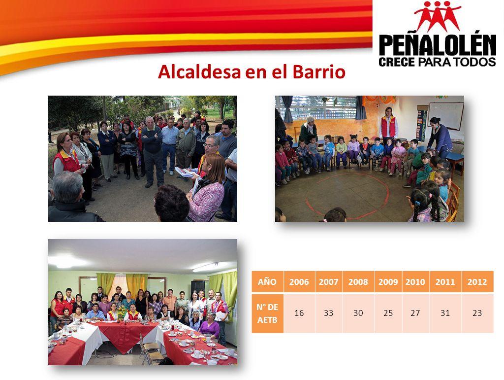 Alcaldesa en el Barrio AÑO 2006 2007 2008 2009 2010 2011 2012 N° DE