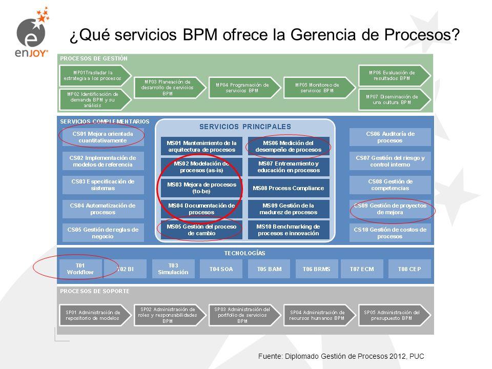 ¿Qué servicios BPM ofrece la Gerencia de Procesos