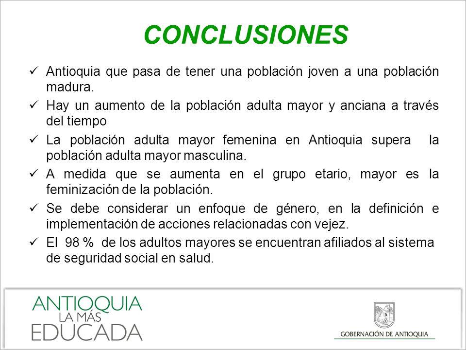 CONCLUSIONES Antioquia que pasa de tener una población joven a una población madura.