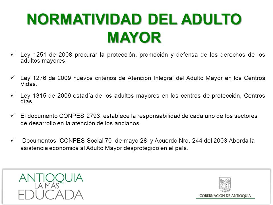 NORMATIVIDAD DEL ADULTO MAYOR