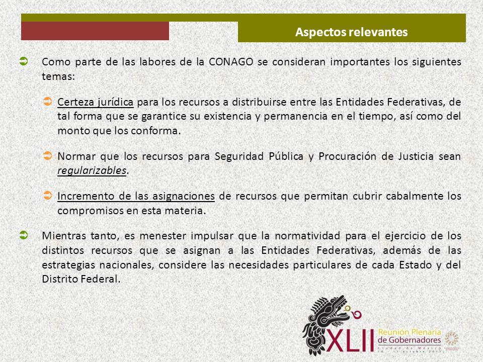 Aspectos relevantes Como parte de las labores de la CONAGO se consideran importantes los siguientes temas: