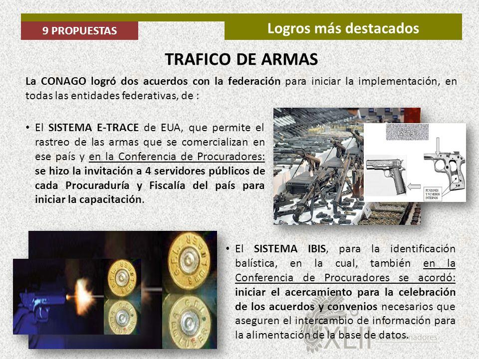 TRAFICO DE ARMAS Logros más destacados 9 PROPUESTAS