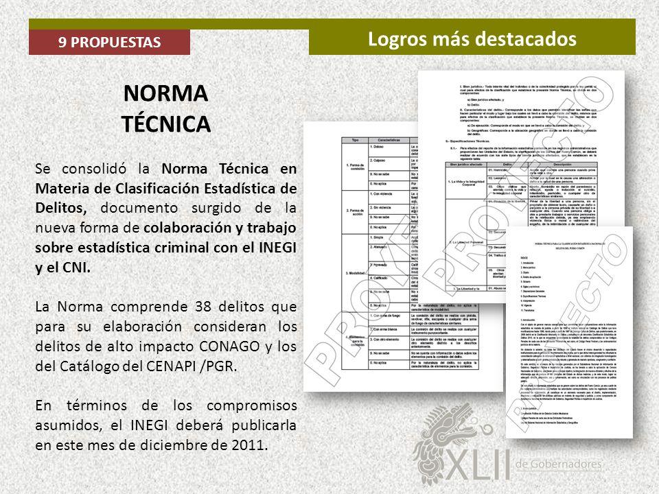 NORMA TÉCNICA Logros más destacados 9 PROPUESTAS