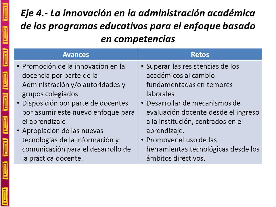 Eje 4.- La innovación en la administración académica de los programas educativos para el enfoque basado en competencias