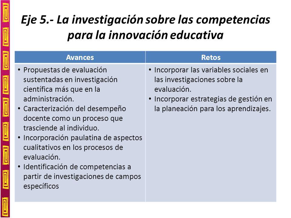 Eje 5.- La investigación sobre las competencias para la innovación educativa