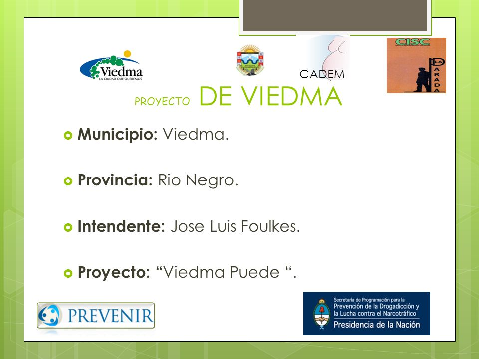 Intendente: Jose Luis Foulkes. Proyecto: Viedma Puede .