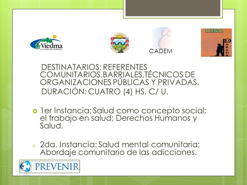 DURACIÓN: CUATRO (4) HS. C/ U.