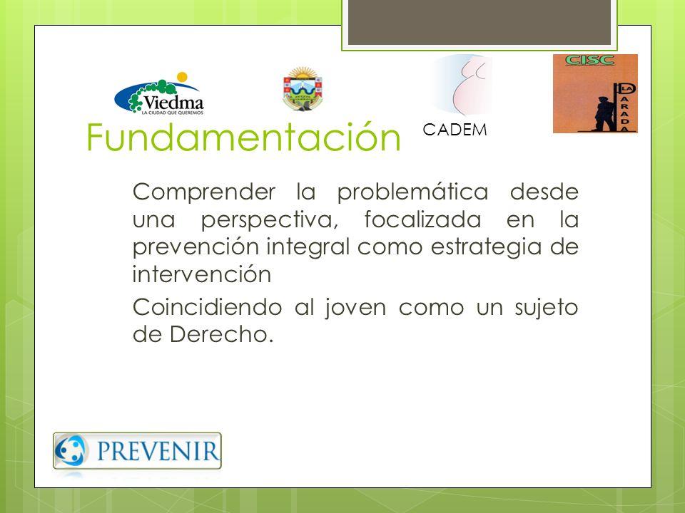 FundamentaciónCADEM. Comprender la problemática desde una perspectiva, focalizada en la prevención integral como estrategia de intervención.