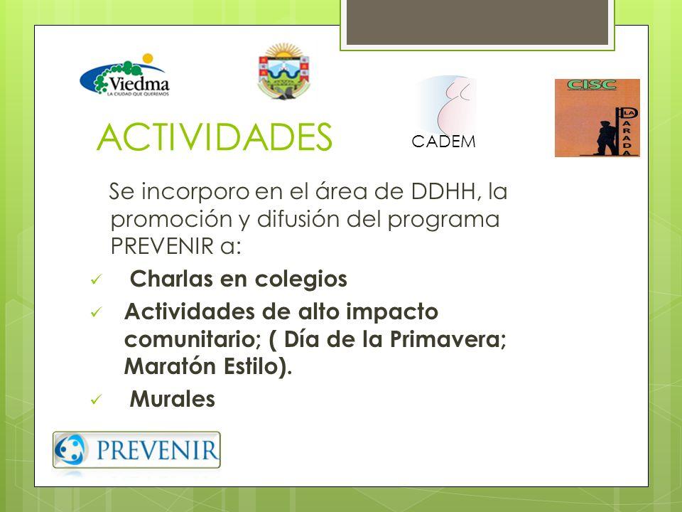 ACTIVIDADES CADEM. Se incorporo en el área de DDHH, la promoción y difusión del programa PREVENIR a: