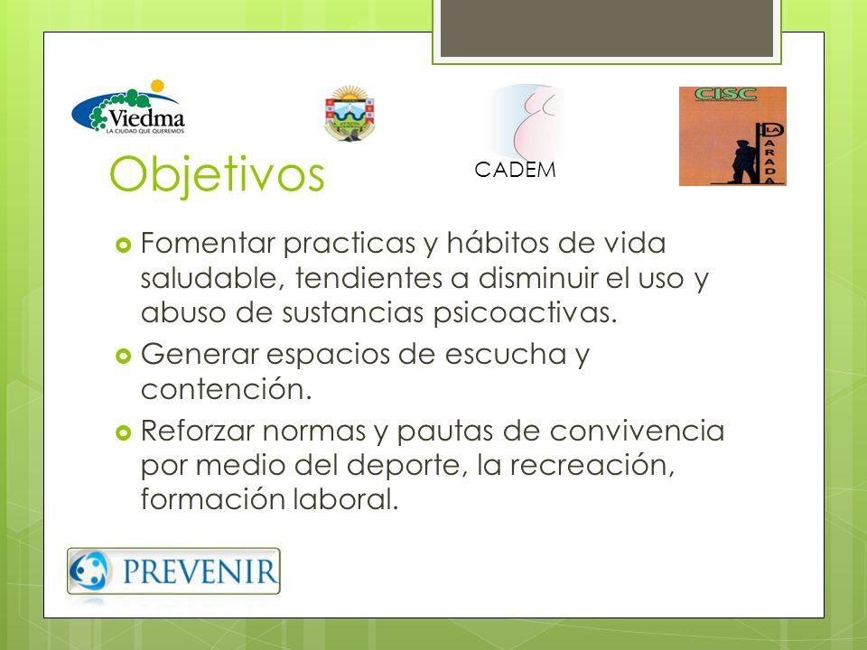 Objetivos CADEM. Fomentar practicas y hábitos de vida saludable, tendientes a disminuir el uso y abuso de sustancias psicoactivas.