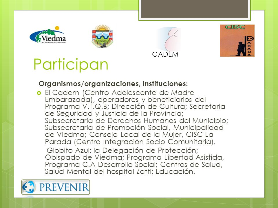 Participan Organismos/organizaciones, instituciones: