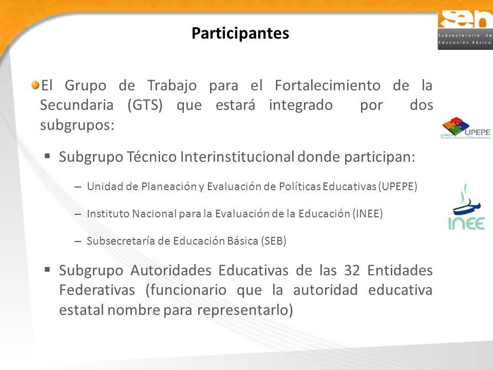 Participantes El Grupo de Trabajo para el Fortalecimiento de la Secundaria (GTS) que estará integrado por dos subgrupos: