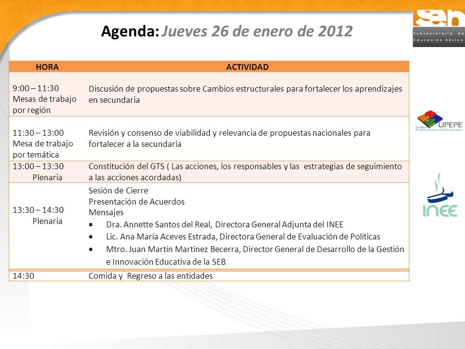 Agenda: Jueves 26 de enero de 2012