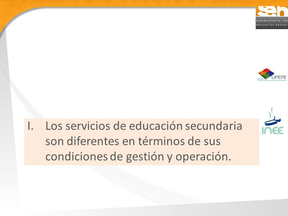 Los servicios de educación secundaria son diferentes en términos de sus condiciones de gestión y operación.