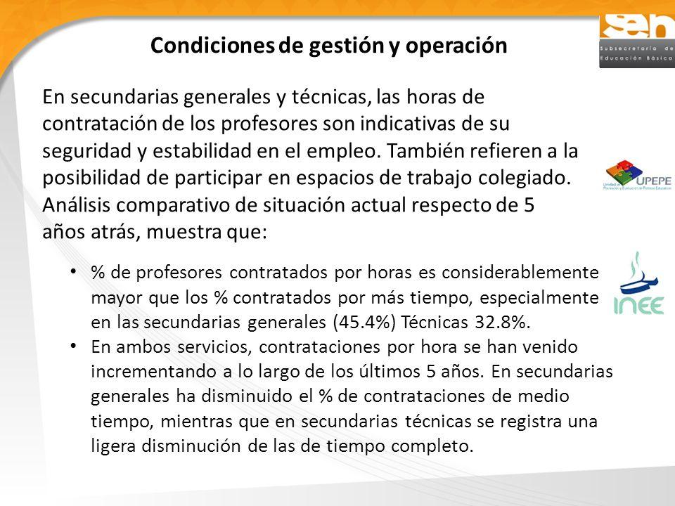 Condiciones de gestión y operación