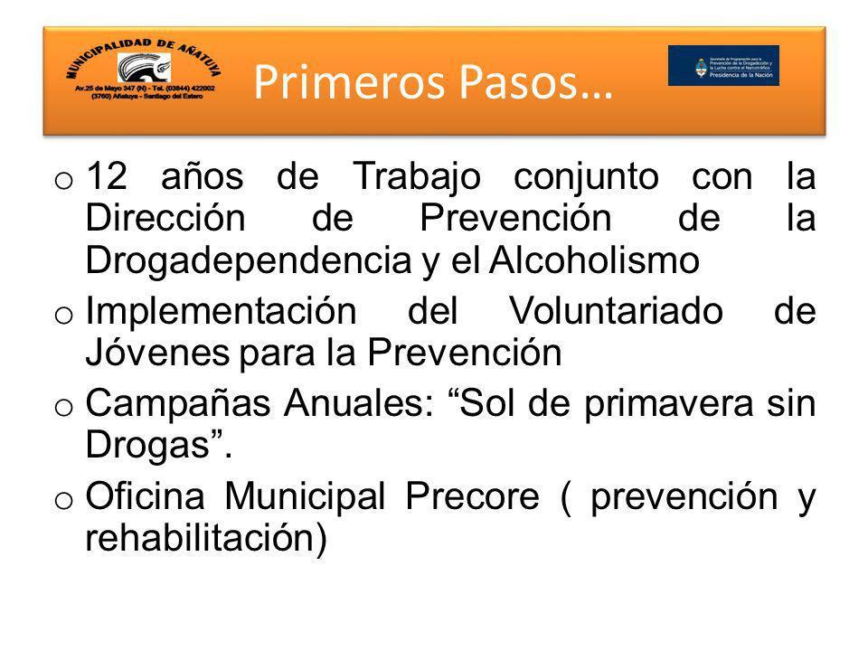 Primeros Pasos… 12 años de Trabajo conjunto con la Dirección de Prevención de la Drogadependencia y el Alcoholismo.