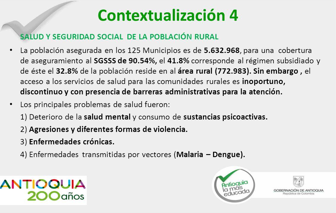 Contextualización 4 SALUD Y SEGURIDAD SOCIAL DE LA POBLACIÓN RURAL