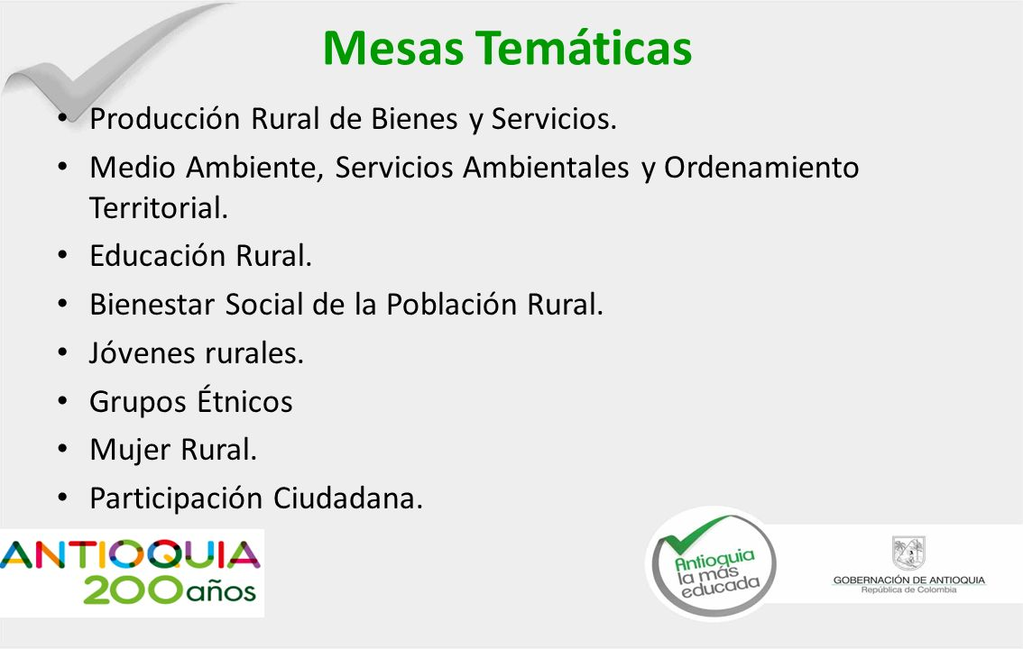 Mesas Temáticas Producción Rural de Bienes y Servicios.