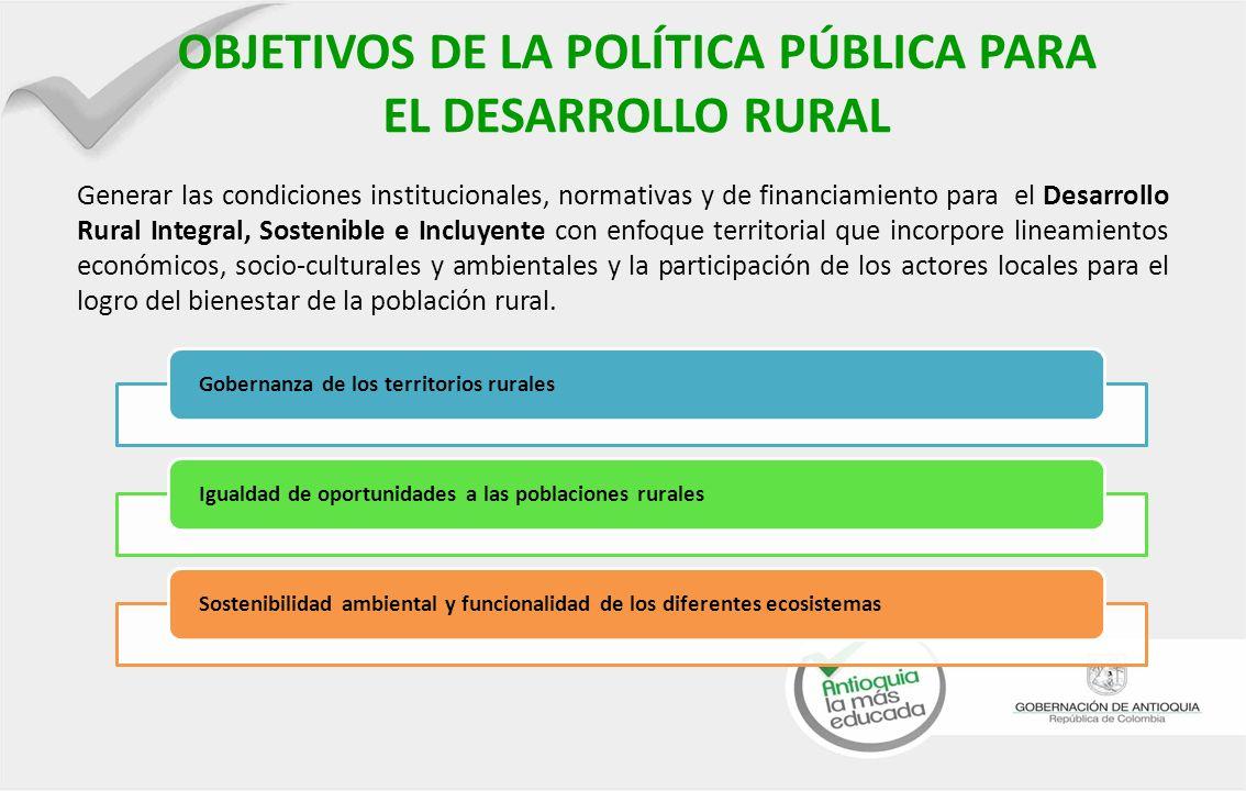 OBJETIVOS DE LA POLÍTICA PÚBLICA PARA EL DESARROLLO RURAL