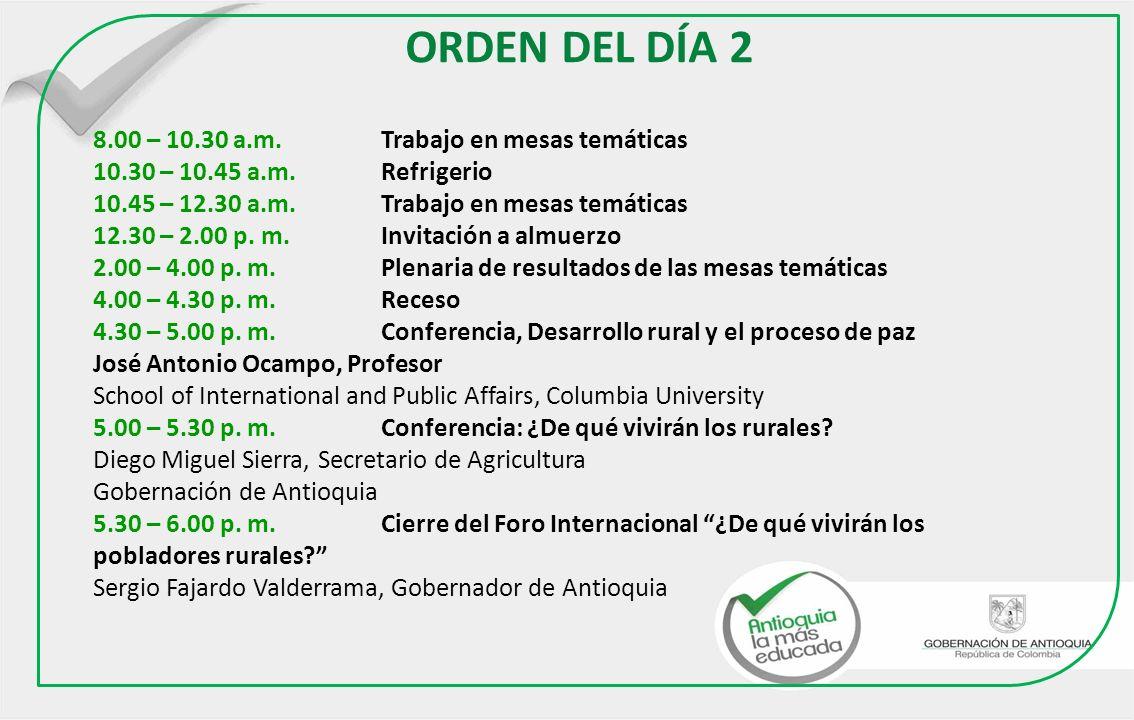 ORDEN DEL DÍA 2 8.00 – 10.30 a.m. Trabajo en mesas temáticas