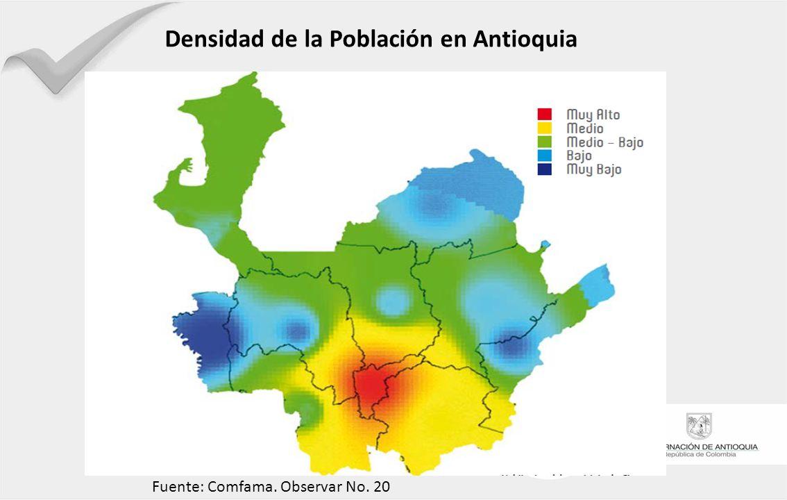 Densidad de la Población en Antioquia