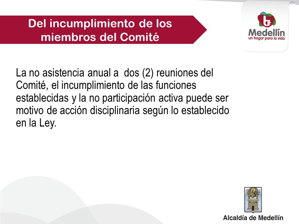 Del incumplimiento de los miembros del Comité