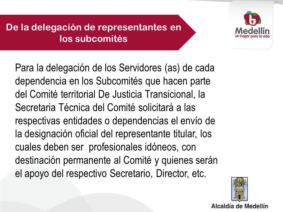 De la delegación de representantes en los subcomités
