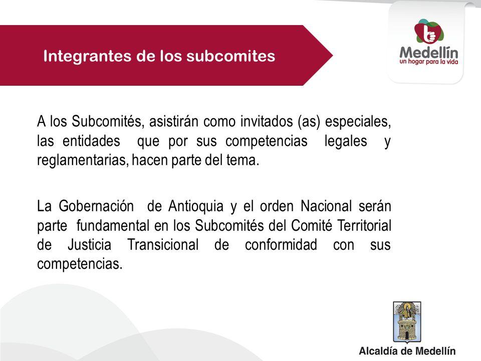 Integrantes de los subcomites