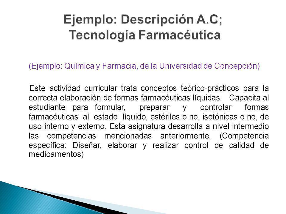 Ejemplo: Descripción A.C; Tecnología Farmacéutica