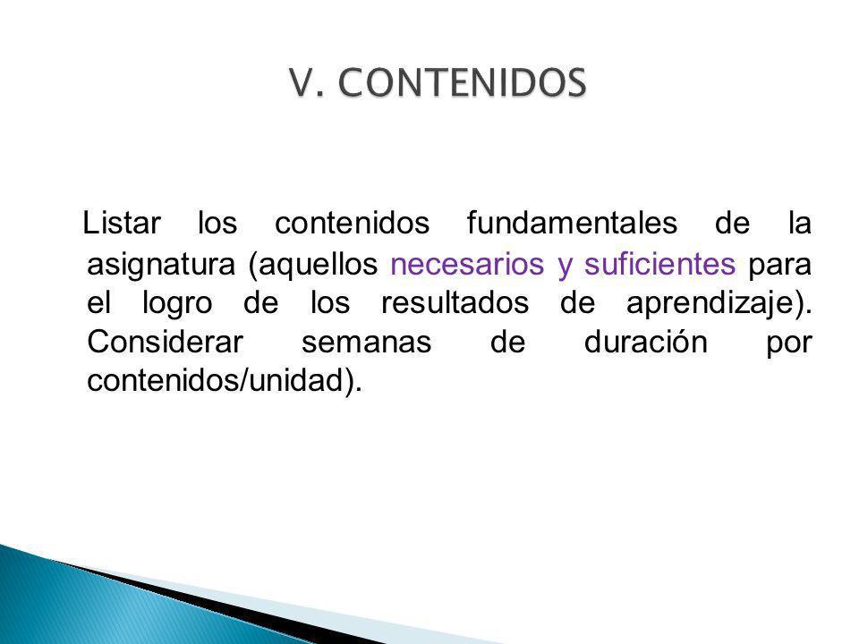 V. CONTENIDOS