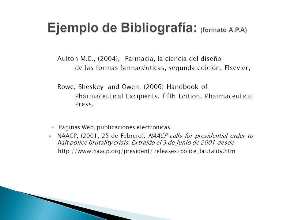 Ejemplo de Bibliografía: (formato A.P.A)