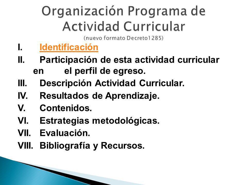 Organización Programa de Actividad Curricular (nuevo formato Decreto1285)